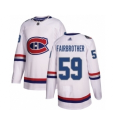 Men's Montreal Canadiens #59 Gianni Fairbrother Authentic White 2017 100 Classic Hockey Jersey