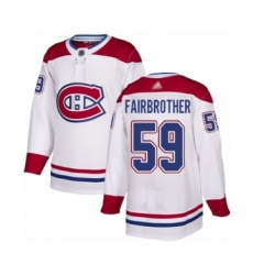 Men's Montreal Canadiens #59 Gianni Fairbrother Authentic White Away Hockey Jersey