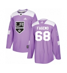 Men's Los Angeles Kings #68 Samuel Fagemo Authentic Purple Fights Cancer Practice Hockey Jersey