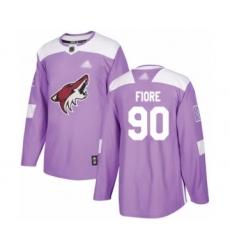 Men's Arizona Coyotes #90 Giovanni Fiore Authentic Purple Fights Cancer Practice Hockey Jersey