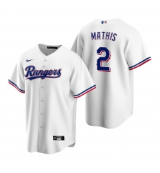 Men's Nike Texas Rangers #2 Jeff Mathis White Home Stitched Baseball Jersey