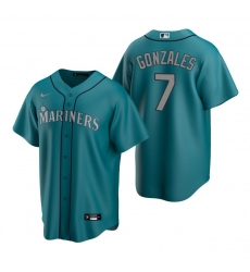Men's Nike Seattle Mariners #7 Marco Gonzales Aqua Alternate Stitched Baseball Jersey