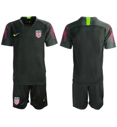USA Blank Black Goalkeeper Soccer Country Jersey