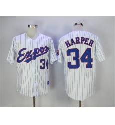 Montreal Expos #34 Bryce Harper White Throwback Jersey