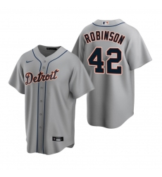 Men's Nike Detroit Tigers #42 Jackie Robinson Gray Road Stitched Baseball Jersey