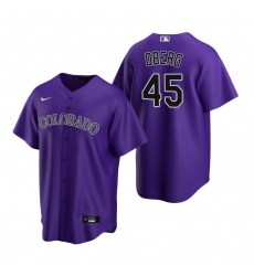 Men's Nike Colorado Rockies #45 Scott Oberg Purple Alternate Stitched Baseball Jersey