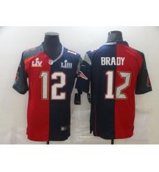 Men's Tampa Bay Buccaneers #12 Tom Brady Blue Red Bowl LV Bowl LIII Limited Split Fashion Football Jersey