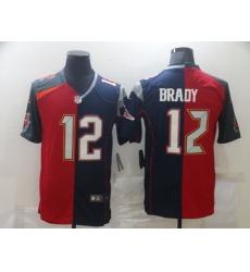 Men's Tampa Bay Buccaneers #12 Tom Brady Blue Red Limited Split Fashion Football Jersey