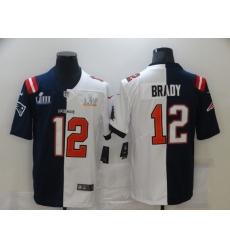 Men's Tampa Bay Buccaneers #12 Tom Brady Blue White Bowl LV Bowl LIII Limited Split Fashion Football Jersey