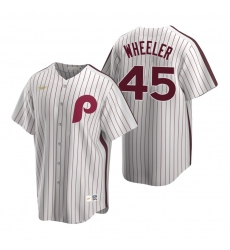 Men's Nike Philadelphia Phillies #45 Zack Wheeler White Cooperstown Collection Home Stitched Baseball Jersey