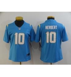 Women's Los Angeles Chargers #10 Justin Herbert Powder Blue 2020 NFL Draft Vapor Limited Jersey
