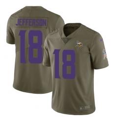 Men's Minnesota Vikings #18 Justin Jefferson Olive Stitched NFL Limited 2017 Salute To Service Jersey