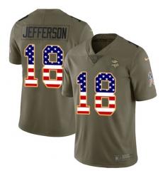 Men's Minnesota Vikings #18 Justin Jefferson Olive USA Flag Stitched NFL Limited 2017 Salute To Service Jersey