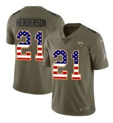Men's Jacksonville Jaguars #21 C.J. Henderson Olive USA Flag Stitched Limited 2017 Salute To Service Jersey
