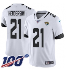 Men's Jacksonville Jaguars #21 C.J. Henderson White Stitched 100th Season Vapor Untouchable Limited Jersey