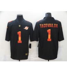 Men's Miami Dolphins #1 Tua Tagovailoa Black colorful Nike Limited Jersey