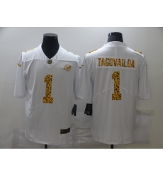 Men's Miami Dolphins #1 Tua Tagovailoa White Nike Leopard Print Limited Jersey