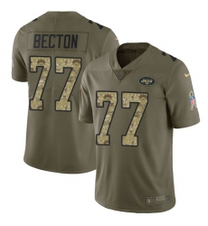 Men's New York Jets #77 Mekhi Becton Olive Camo Stitched Limited 2017 Salute To Service Jersey