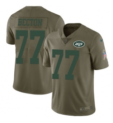 Men's New York Jets #77 Mekhi Becton Olive Stitched Limited 2017 Salute To Service Jersey