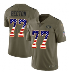 Men's New York Jets #77 Mekhi Becton Olive USA Flag Stitched Limited 2017 Salute To Service Jersey