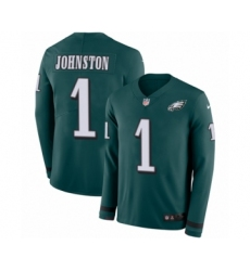 Youth Nike Philadelphia Eagles #1 Cameron Johnston Limited Green Therma Long Sleeve NFL Jersey