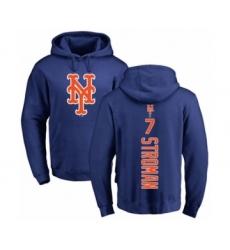 Baseball New York Mets #7 Marcus Stroman Royal Blue Backer Pullover Hoodie