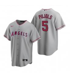 Men's Nike Los Angeles Angels #5 Albert Pujols Gray Road Stitched Baseball Jersey