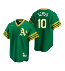 Men's Nike Oakland Athletics #10 Marcus Semien Kelly Green Cooperstown Collection Road Stitched Baseball Jersey