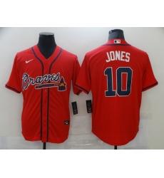 Men's Nike Chipper Jones #10 Atlanta Braves Red Replica Alternate Jersey