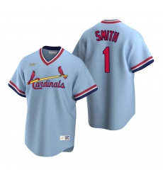 Men's Nike St. Louis Cardinals #1 Ozzie Smith Light Blue Cooperstown Collection Road Stitched Baseball Jersey