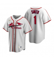 Men's Nike St. Louis Cardinals #1 Ozzie Smith White Cooperstown Collection Home Stitched Baseball Jersey