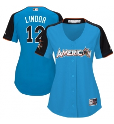Women's Majestic Cleveland Indians #12 Francisco Lindor Authentic Blue American League 2017 MLB All-Star MLB Jersey