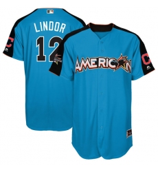Youth Majestic Cleveland Indians #12 Francisco Lindor Replica Blue American League 2017 MLB All-Star MLB Jersey