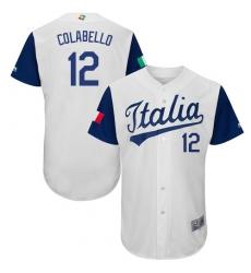 Men's Italy Baseball Majestic #12 Chris Colabello White 2017 World Baseball Classic Authentic Team Jersey