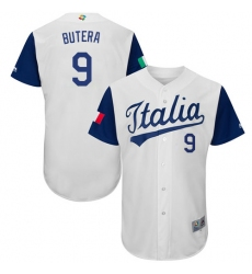 Men's Italy Baseball Majestic #9 Drew Butera White 2017 World Baseball Classic Authentic Team Jersey