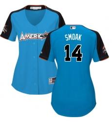 Women's Majestic Toronto Blue Jays #14 Justin Smoak Authentic Blue American League 2017 MLB All-Star MLB Jersey