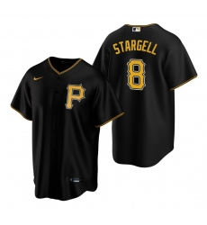 Men's Nike Pittsburgh Pirates #8 Willie Stargell Black Alternate Stitched Baseball Jersey