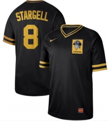 Men's Nike Pittsburgh Pirates #8 Willie Stargell Black Authentic Cooperstown Collection Stitched Baseball Jersey