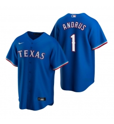 Men's Nike Texas Rangers #1 Elvis Andrus Royal Alternate Stitched Baseball Jersey
