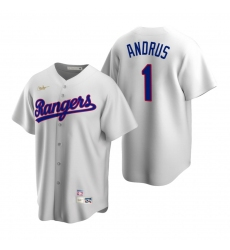 Men's Nike Texas Rangers #1 Elvis Andrus White Cooperstown Collection Home Stitched Baseball Jersey