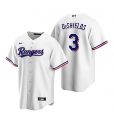 Men's Nike Texas Rangers #3 Delino DeShields White Home Stitched Baseball Jersey