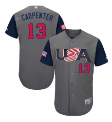 Youth USA Baseball Majestic #13 Matt Carpenter Gray 2017 World Baseball Classic Authentic Team Jersey