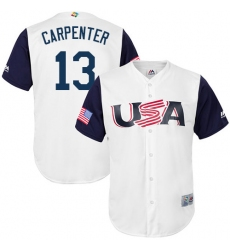 Youth USA Baseball Majestic #13 Matt Carpenter White 2017 World Baseball Classic Replica Team Jersey