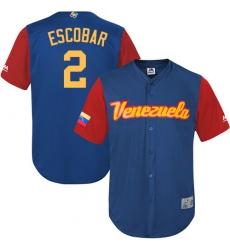 Men's Venezuela Baseball Majestic #2 Alcides Escobar Royal Blue 2017 World Baseball Classic Replica Team Jersey