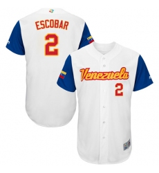 Men's Venezuela Baseball Majestic #2 Alcides Escobar White 2017 World Baseball Classic Authentic Team Jersey