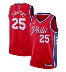 Men's Philadelphia 76ers #25 Ben Simmons Jordan Brand Red 2020-21 Swingman Jersey