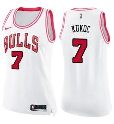 Women's Nike Chicago Bulls #7 Toni Kukoc Swingman White/Pink Fashion NBA Jersey