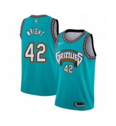 Men's Memphis Grizzlies #42 Lorenzen Wright Authentic Green Hardwood Classic Basketball Jersey