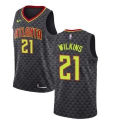 Men's Nike Atlanta Hawks #21 Dominique Wilkins Swingman Black Road NBA Jersey - Icon Edition