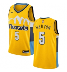 Men's Nike Denver Nuggets #5 Will Barton Swingman Gold Alternate NBA Jersey Statement Edition